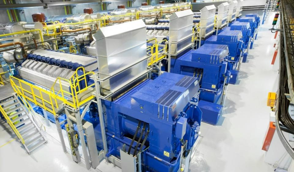 Engine hall inside Kiisa ERPP 1&2 Power Plant in Estonia. Inaugurated in Oct 2014.